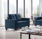 Boutwell Loveseat, Blue Fabric
