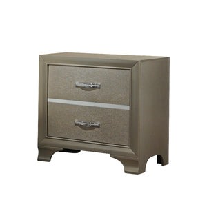 Champagne & Chrome Wood Contemporary 2 Drawer Storage Bedroom Nightstand Bedside Table - Pilaster Designs