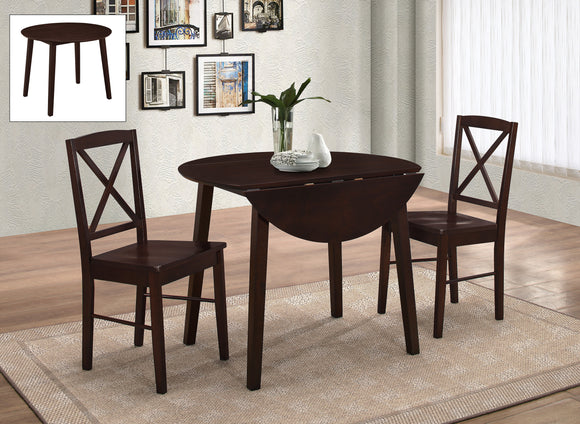 3 Piece Wood Round Kitchen Dinette Drop Leaf Dining Table & 2 Side Chairs Set - Pilaster Designs