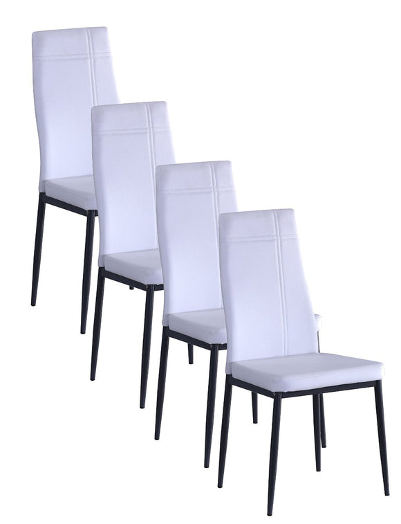 Bri Kitchen Dining Chairs, White Faux Leather