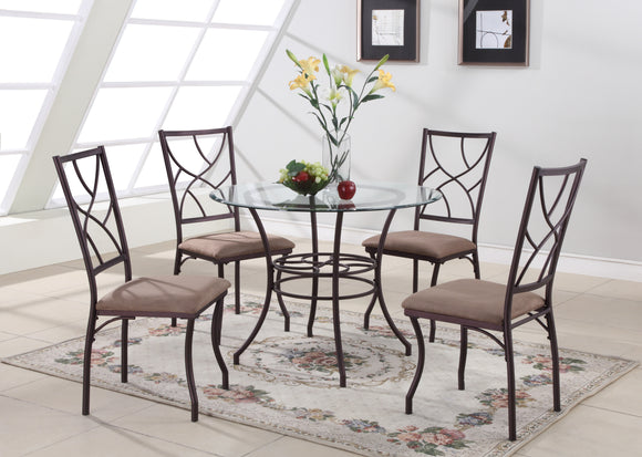 5 Piece Copper Metal & Glass Round Kitchen Dinette Dining Table & 4 Side Chairs - Pilaster Designs
