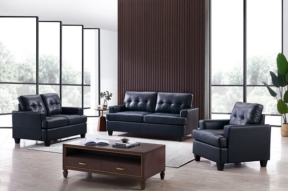 Molina 3 Piece Living Room Set, Blue Faux Leather
