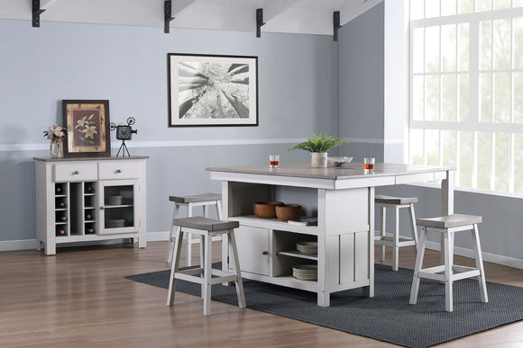 Millport 6 Piece Counter Height Dining Set, White & Wash Gray Wood
