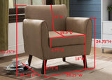 Brown Upholstered Fabric Oversized Accent Living Room Arm Chair With Solid Wood Legs - Pilaster Designs