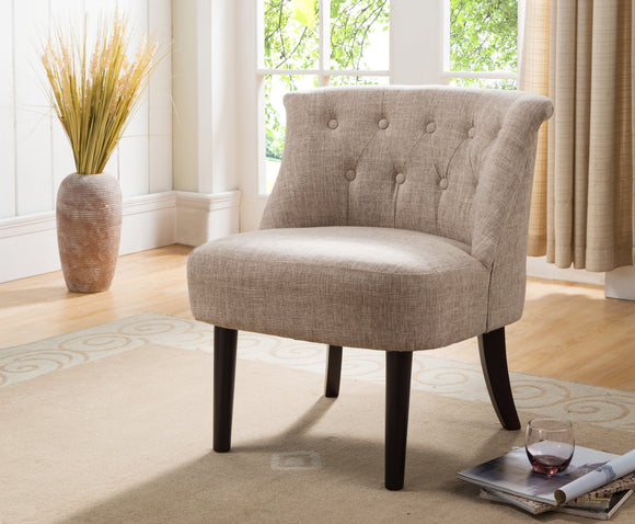 Light Brown & Dark Cherry Upholstered Fabric Armless Oversized Accent Chair With Button Tufs, Wood Frame & Legs - Pilaster Designs