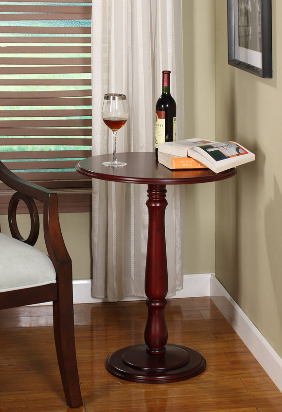 Clancy Wood Round Accent Side Plant Stand Display Table (Black, Cherry) - Pilaster Designs