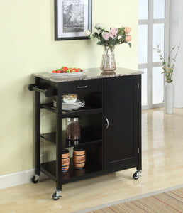 Clayton Serving Cart, Black & Marble Wood