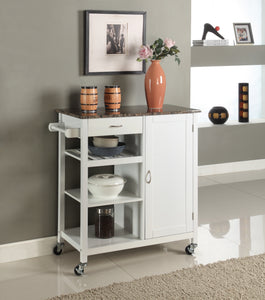 Clayton Serving Cart, White & Marble Wood