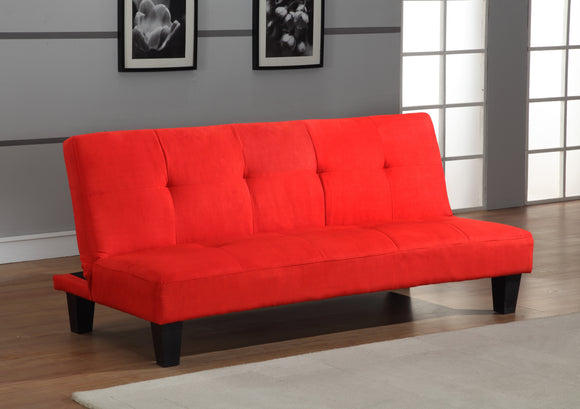 Caila Microfiber Fabric Tufted Klick Klak Sofa Futon Sleeper Bed With Adjustable Back (Black, Red) - Pilaster Designs
