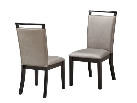 Danby Dining Chairs, Gray Fabric & Cappuccino Wood