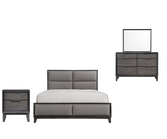 Consuelo 4 Piece Upholstered Bedroom Set, King, Gray Wood