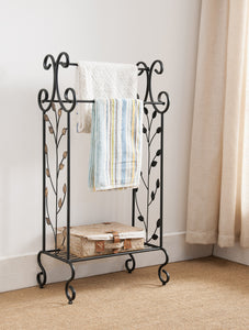 Black Metal Free Standing Towel Rack Stand With Storage Shelf & Gold Leaf Design - Pilaster Designs