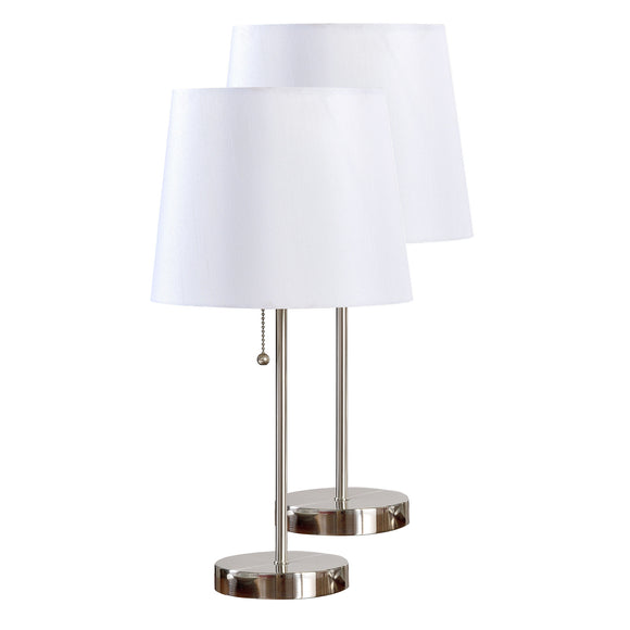Ailani Brushed Nickel Metal With White Fabric Empire Shade Modern Bedroom, Bedside, Desk, Bookcase, Living Room Table Lamps (Set Of 2) - Pilaster Designs