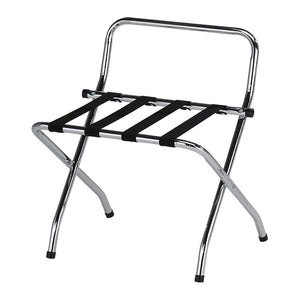 24-Inch Chrome & Black Metal Contemporary Foldable Luggage Rack Stand With High Back & Nylon Belts - Pilaster Designs