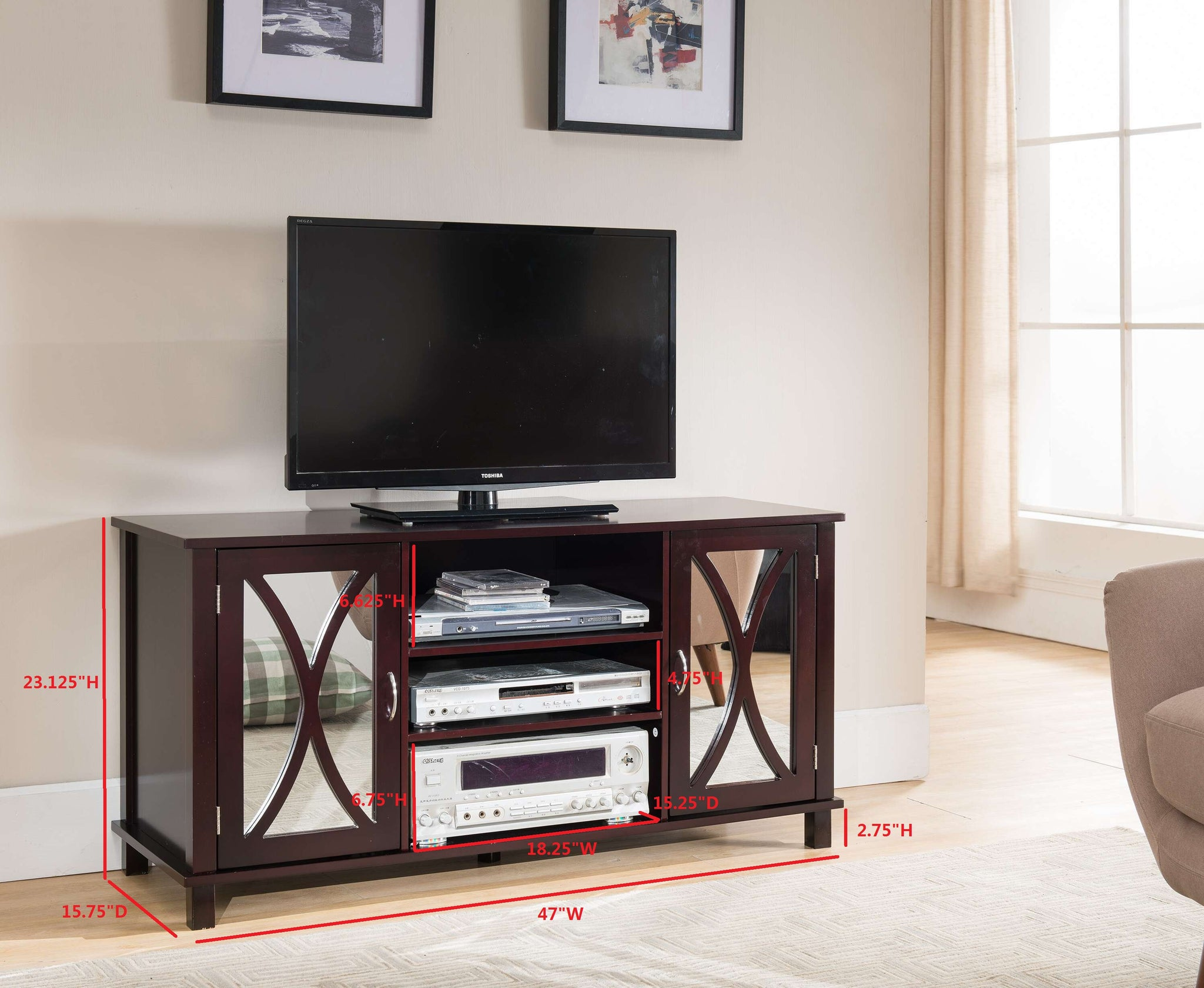 47 Espresso Wood Entertainment Center Tv Console Stand With Mirror