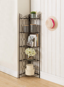 Brushed Copper Metal 5 Tier Transitional Corner Bookshelf Organizer Display Unit - Pilaster Designs