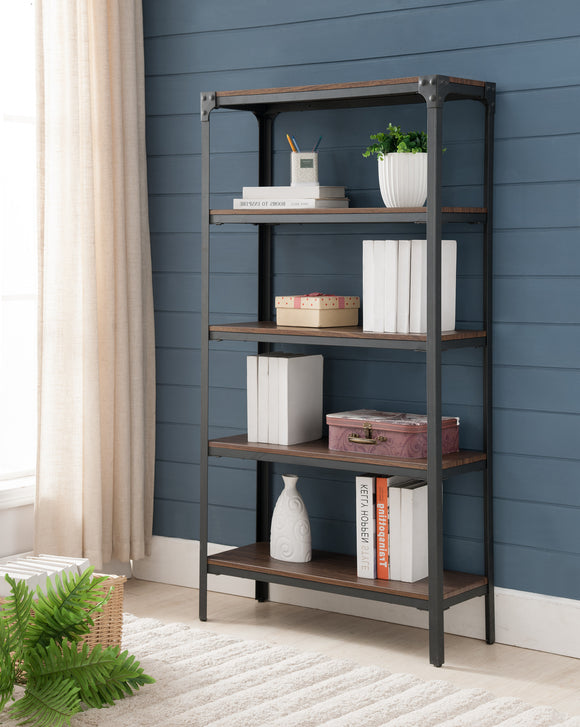 Catalina 5 Tier Bookcase, Walnut Wood & Black Metal