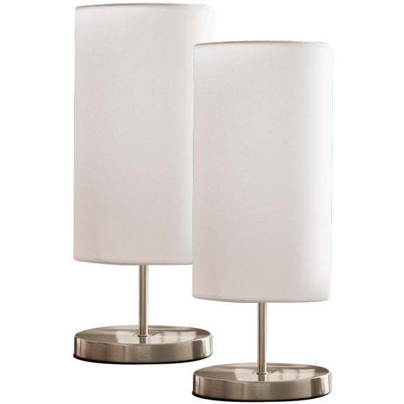 Maylee Brushed Nickel With White Cylinder Fabric Shade Modern Bedroom, Bedside, Desk, Bookcase, Living Room Table Lamps (Set Of 2) (Gear Switch) - Pilaster Designs