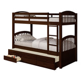 Brook Trundle Bunk Bed, Twin Size, Espresso Wood