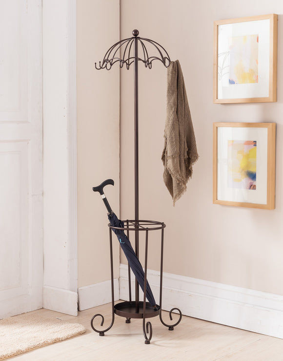Metal Bronze Traditional Umbrella Style 10 Hook Hat & Coat & Rack Stand With Umbrella Holder - Pilaster Designs