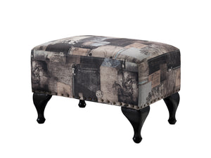 Multi Black & Grey Fabric Upholstered Rectangle Ottoman Footstool Bench (Wood Frame) - Pilaster Designs