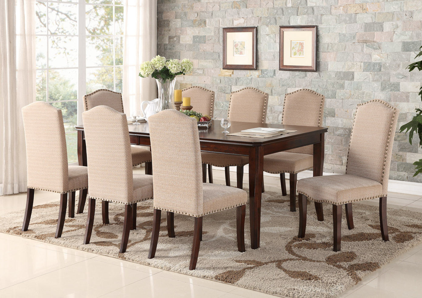Cherry Wood Contemporary Rectangular Dinette Dining Room Table U0026 Side  Upholstered Chairs ...