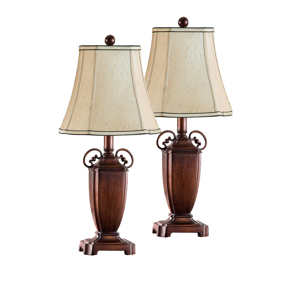 Saoirse Table Lamp Set, Antique Brushed Red & Light Brown Fabric