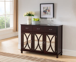 Luke Espresso Wood Contemporary Sideboard Buffet Server Console Table With Storage Drawers & Mirrored Cabinet Doors - Pilaster Designs