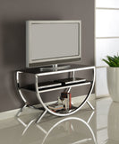 "Blakely 38"" Chrome Metal & Black Glass Top Modern Entertainment Center Media Console TC Stand With Storage Shelves - Pilaster Designs"