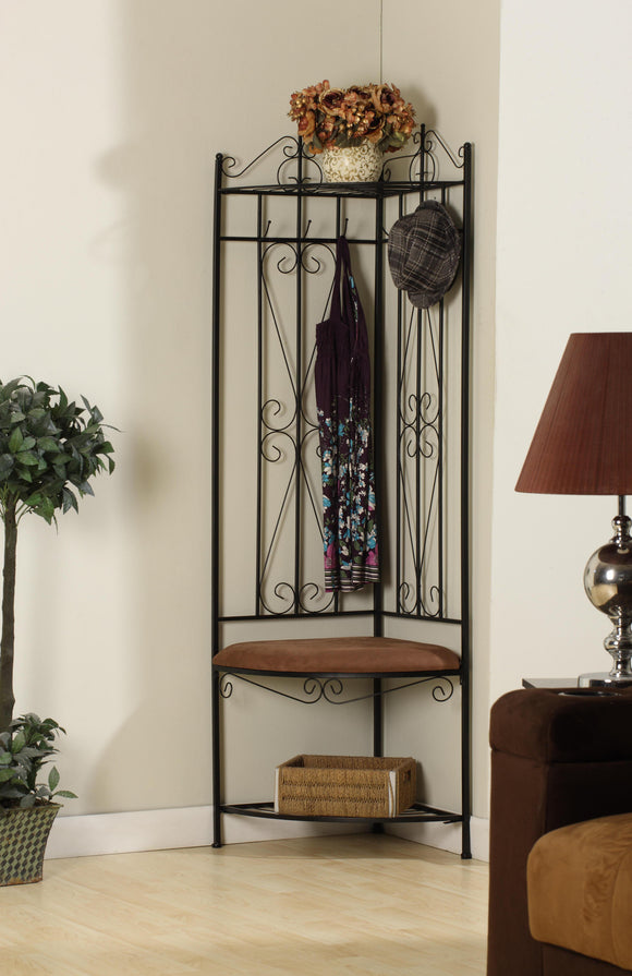 Black Metal Corner Entryway Hallway Storage Bench Hall Tree Coat Rack - Pilaster Designs