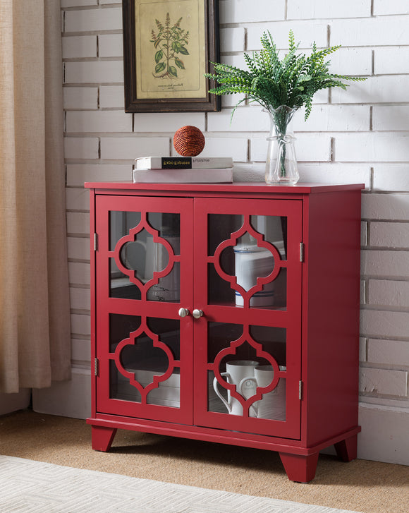 Roman Accent Cabinet, Red Wood & Glass