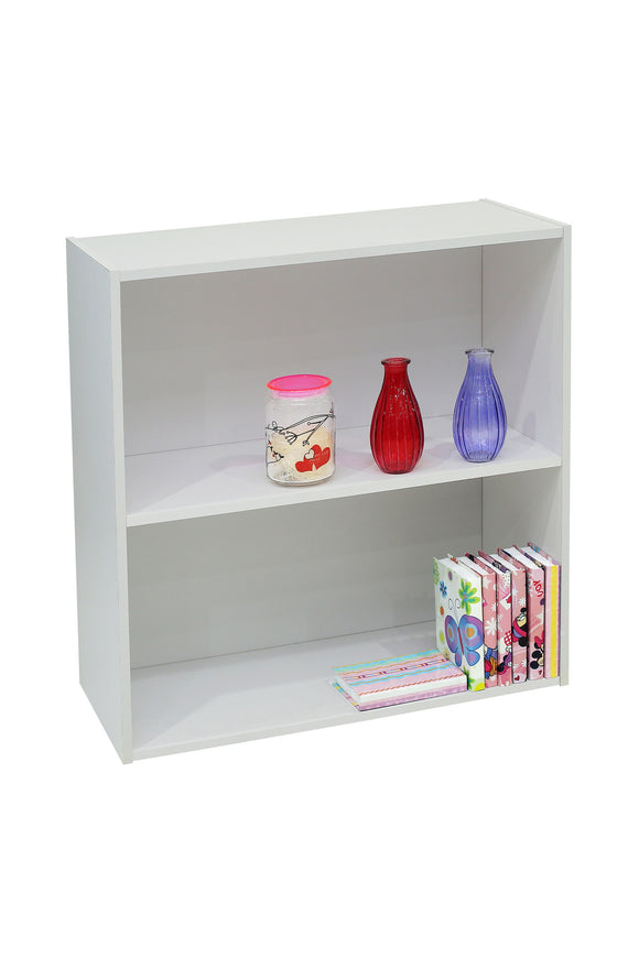 Darrin 2 Tier Bookcase, White Wood