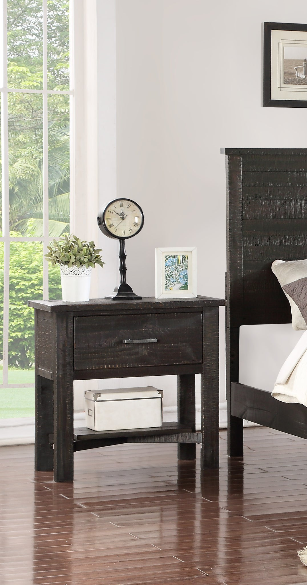 Madison Charcoal Or Natural Wood Rustic Kids Bedroom Nightstand