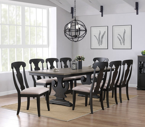 Frates 9 Piece Dining Set, Black & Brown Wood