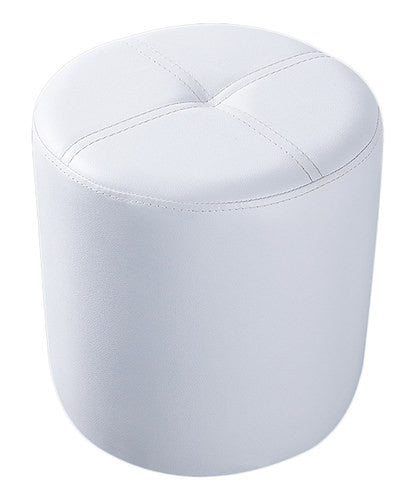 Ula Ottoman Footstool, White Faux Leather