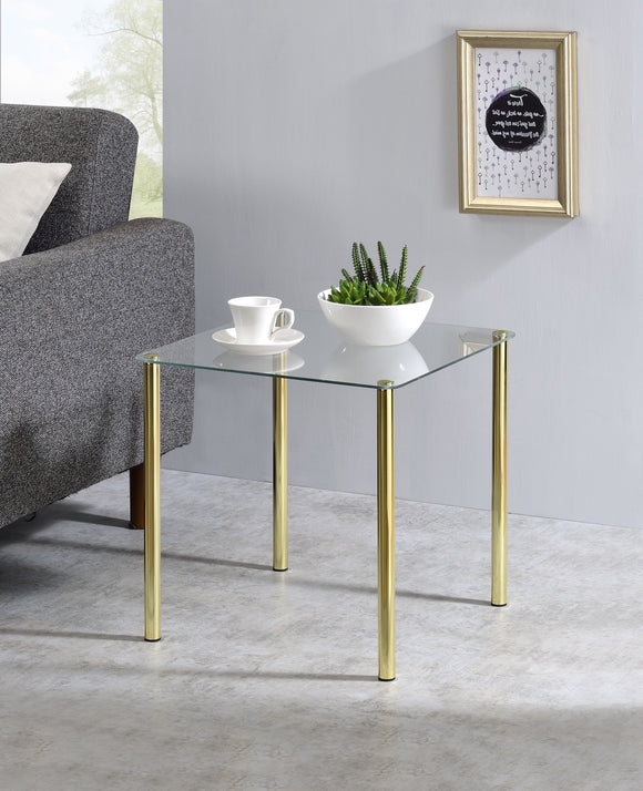 Worcester Square Side Table, Brass Metal & Glass