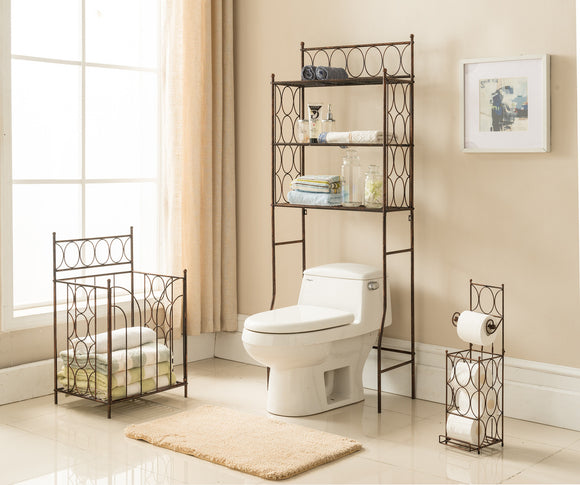 3 Piece Copper Iron Transitional Etagere Over The Toilet, Toilet Paper Holder & Towel Rack Organizer Display Set - Pilaster Designs