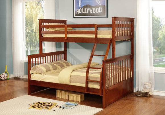 Batya Twin Over Full Size Wood Country Style Slat Bunk Bed (Bunkbed) (Walnut, White) - Pilaster Designs