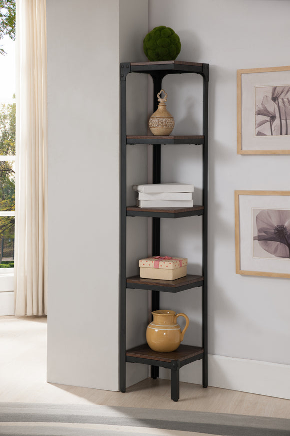 Catalina 5 Tier Corner Bookcase, Walnut Wood & Black Metal