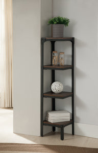 Catalina 4 Tier Corner Bookcase, Walnut Wood & Black Metal