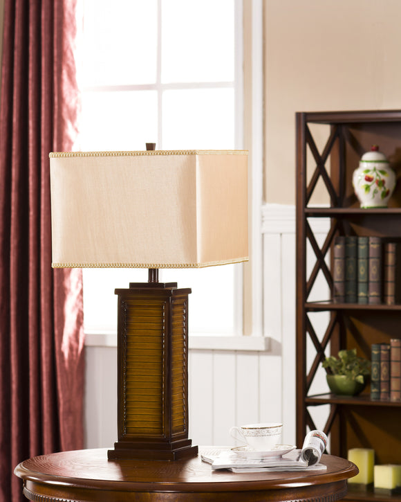 Brown Finish With Light Brown Fabric Shade Traditional Table Lamp - Pilaster Designs
