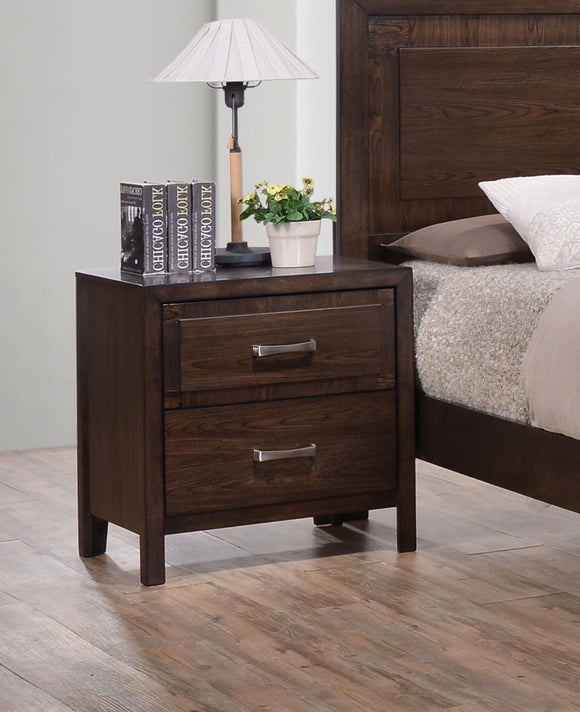 Cappuccino Wood Contemporary 2 Drawer Storage Bedroom Nightstand Bedside Table - Pilaster Designs