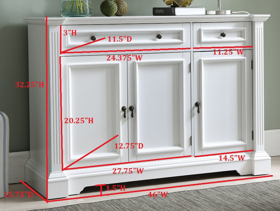 ... Liam White Wood Contemporary Sideboard Buffet Console Table With  Storage Cabinets, Drawers, ...