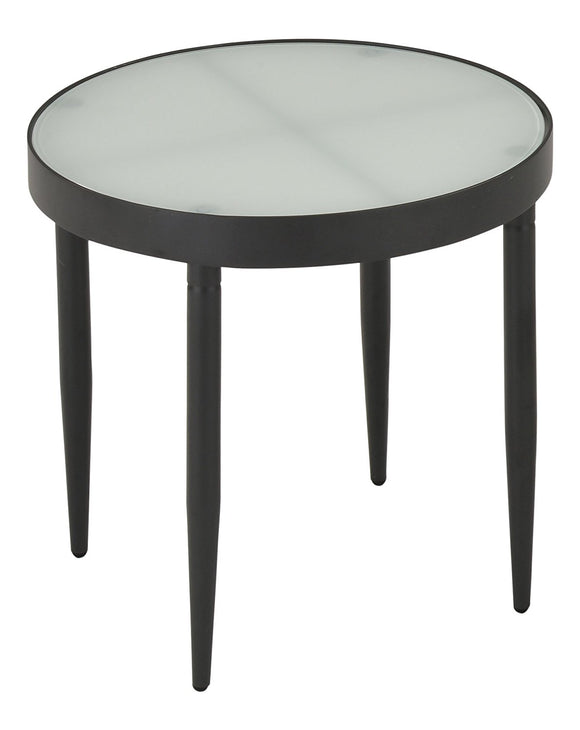 Madeleine End Table Black Metal & Frosted Tempered Glass