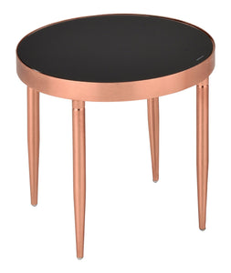 Madeleine End Table Rose Gold Metal & Black Tempered Glass