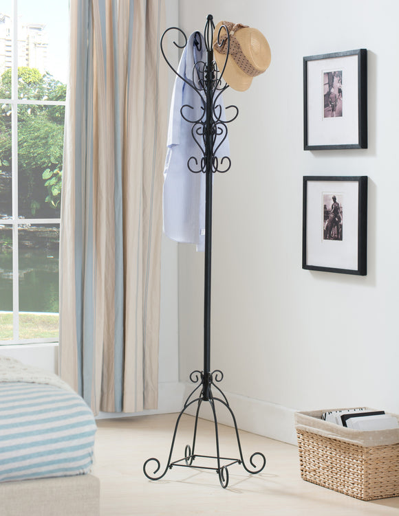 Black Metal 12 Hook Entryway Coat & Hat Rack Display Stand - Pilaster Designs