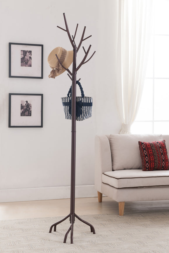 Bronze Metal 14 Hook Entryway Twig Branches Coat & Hat Rack Display Stand With Umbrella Stand - Pilaster Designs