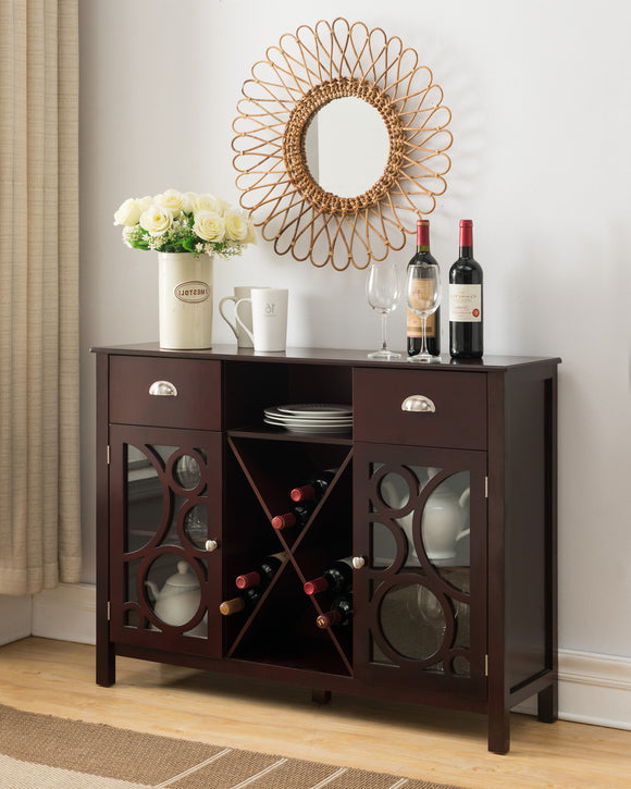 Finn Dark Cherry Wood Contemporary Wine Rack Sideboard Buffet Display Console Table With Storage Drawers, Glass Cabinet Doors & Shelf - Pilaster Designs