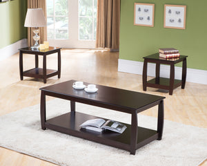 Sade 3 Piece Coffee Table Set, Dark Cherry Wood