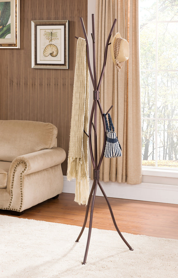 Bronze Metal 9 Hook Entryway Tree Branches Coat & Hat Rack Display Stand With Umbrella Stand - Pilaster Designs